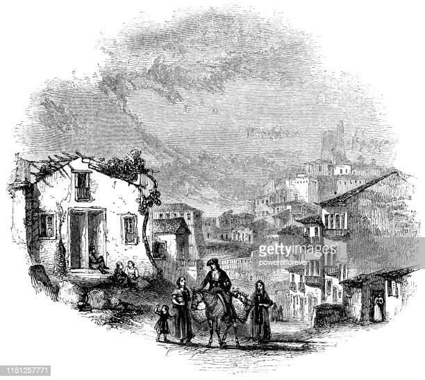 イタリア、シチリア島のメッシーナの路上で人々-16 世紀 - メッシーナ点のイラスト素材/クリップアート素材/マンガ素材/アイコン素材