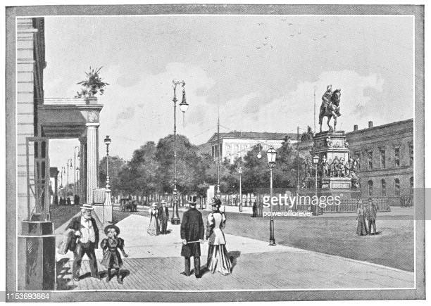 People on Unter den Linden in Berlin, Germany - Imperial Germany 19th Century