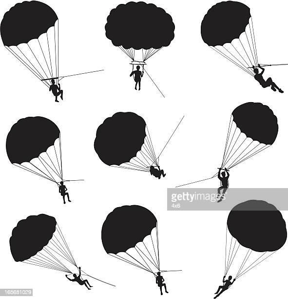 illustrations, cliparts, dessins animés et icônes de personnes parachute ascensionnel - saut en parachute