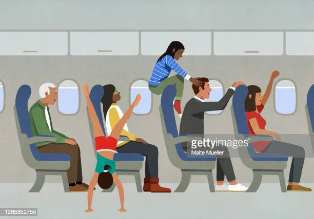people playing and cheering on airplane - journey stock illustrations