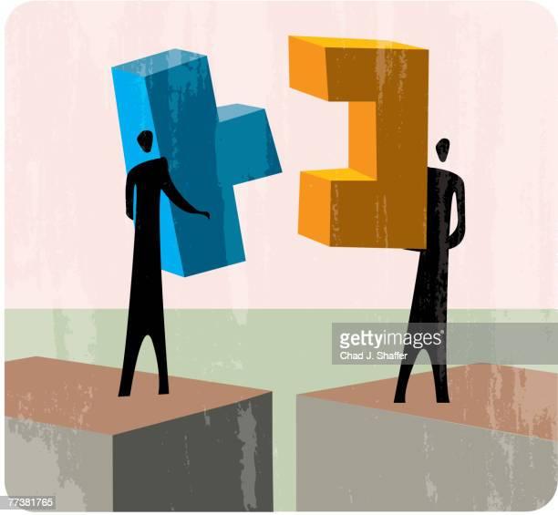 illustrations, cliparts, dessins animés et icônes de people putting two blocks together - jeu de construction