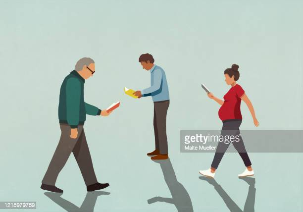 people reading books and walking - {{ contactusnotification.cta }} stock illustrations
