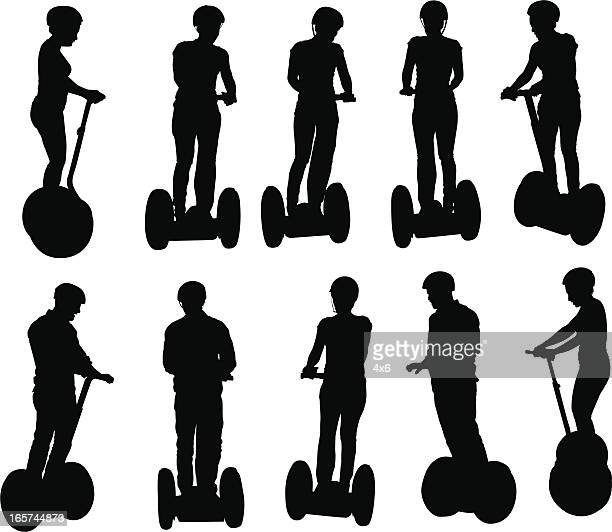 people riding around on segways - motorcycle helmet isolated stock illustrations, clip art, cartoons, & icons
