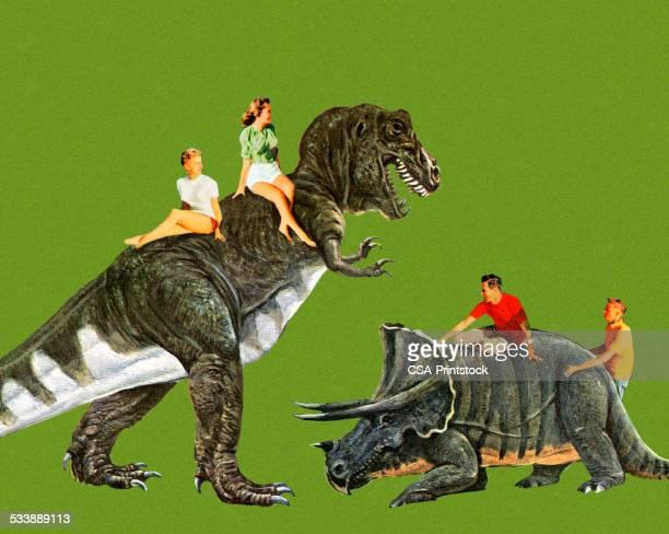 ilustraciones, imágenes clip art, dibujos animados e iconos de stock de personas riding dinosaurios - animal extinto