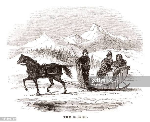 people riding in a horse-drawn sleigh - horsedrawn stock illustrations, clip art, cartoons, & icons