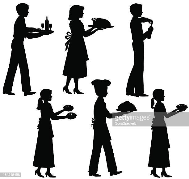 people serving food silhouettes - savoury pie stock illustrations