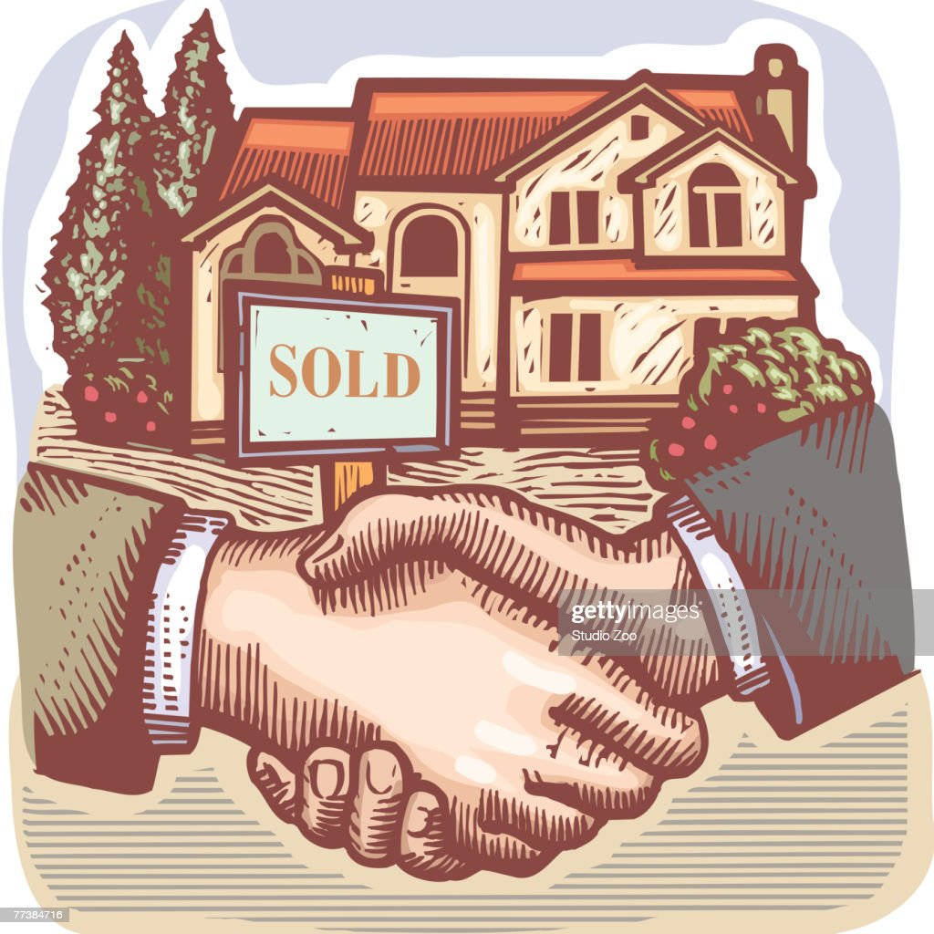 People shaking hands in front of a real estate sold sign : stock illustration