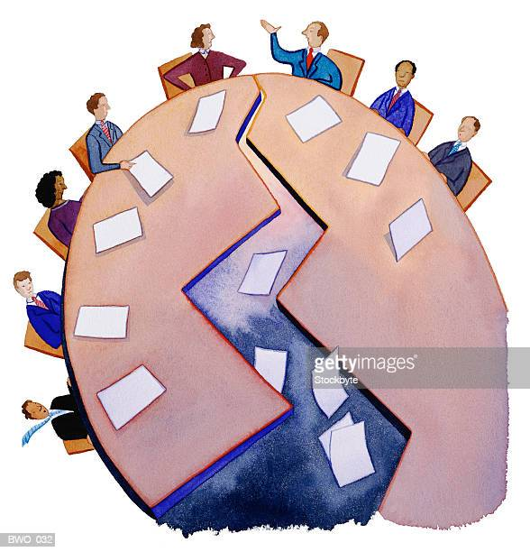 people sitting at meeting table, arguing; table splitting down middle - office fight stock illustrations, clip art, cartoons, & icons