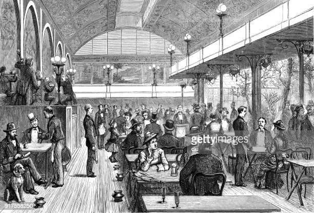 ニューヨーク、バンドの生演奏のレストランに座っている人 - 1870~1879年点のイラスト素材/クリップアート素材/マンガ素材/アイコン素材