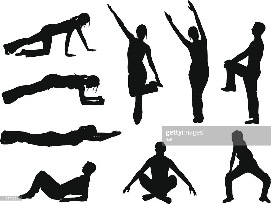 People stretching and holding yoga poses : stock illustration