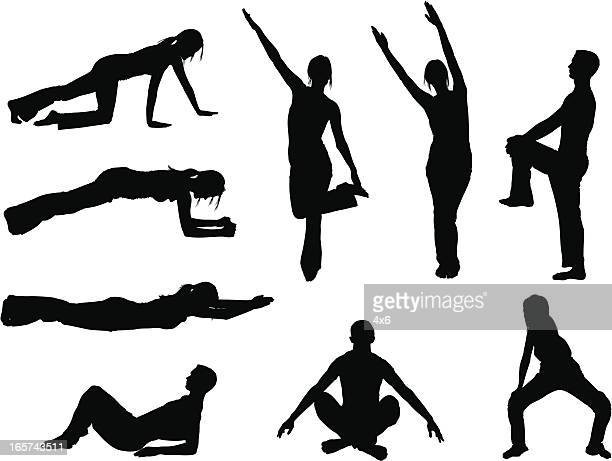 people stretching and holding yoga poses - touching toes stock illustrations, clip art, cartoons, & icons