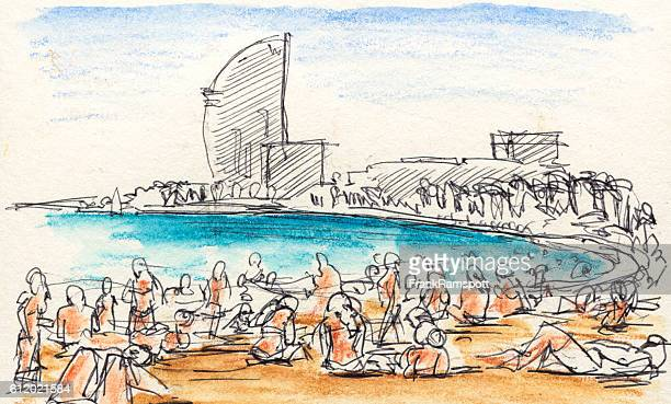 people sunbathing at barcelona beach drawing - barcelona stock illustrations, clip art, cartoons, & icons