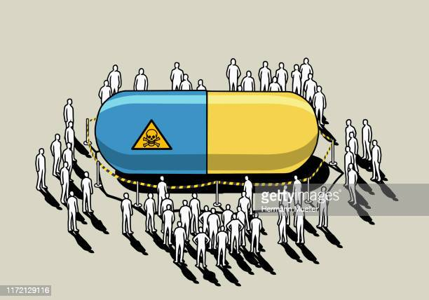 people surrounding dangerous, roped off prescription capsule - large group of people stock illustrations