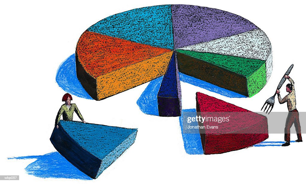 People Taking Pieces of Pie : Stock Illustration