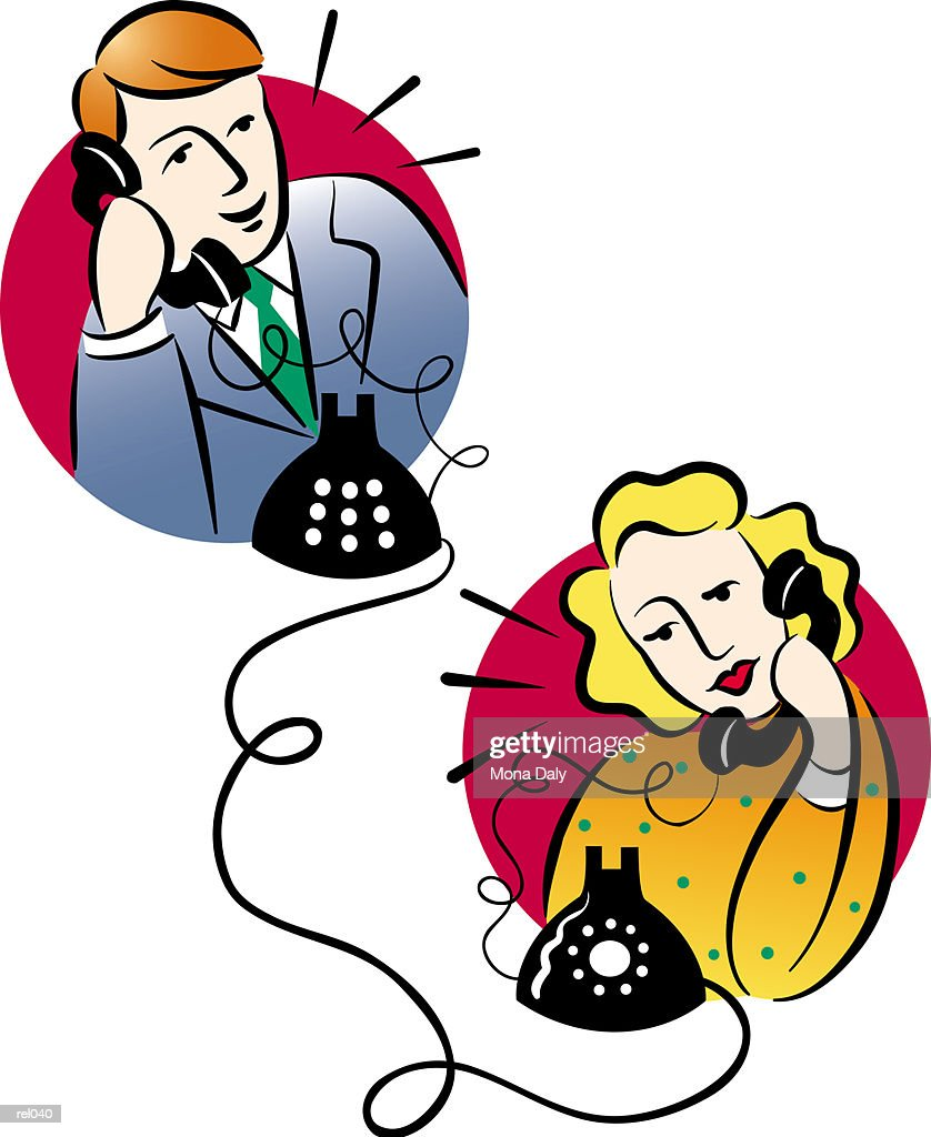 People Talking on Telephone : Ilustração de stock
