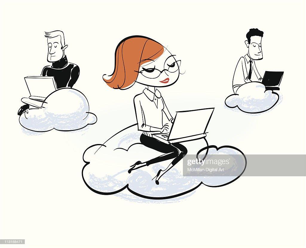 People using laptops atop clouds : Vectorkunst
