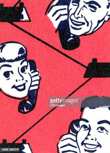 people using telephones - phone cord stock illustrations, clip art, cartoons, & icons