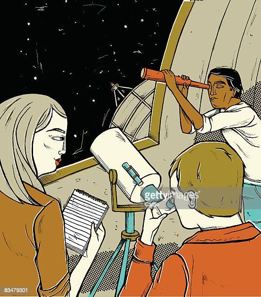 People using telescopes to look up at the night sky