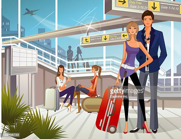 People waiting at airport lounge