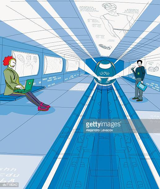 People Waiting for a Train in a Futuristic Station