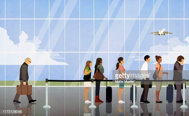 people waiting in queue at airport security - in a row stock illustrations