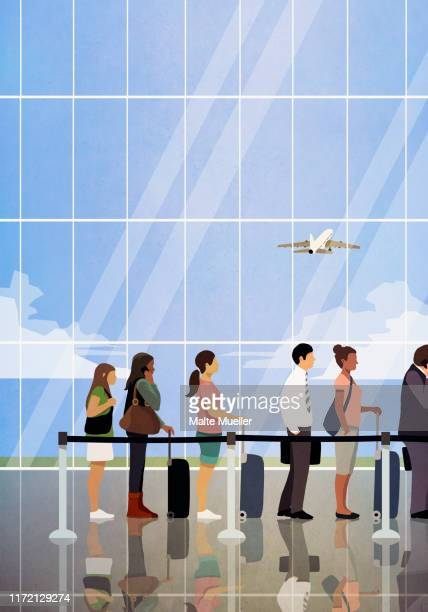 people waiting in queue at airport security - journey stock illustrations