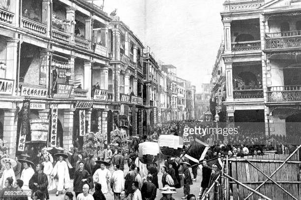 people walking in a shopping street in hong kong - history stock illustrations, clip art, cartoons, & icons