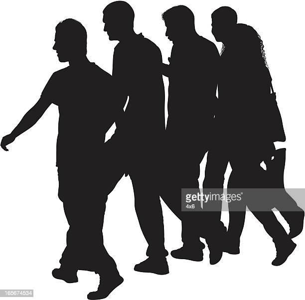 ilustraciones, imágenes clip art, dibujos animados e iconos de stock de gente caminando en la calle - color tipo de imagen