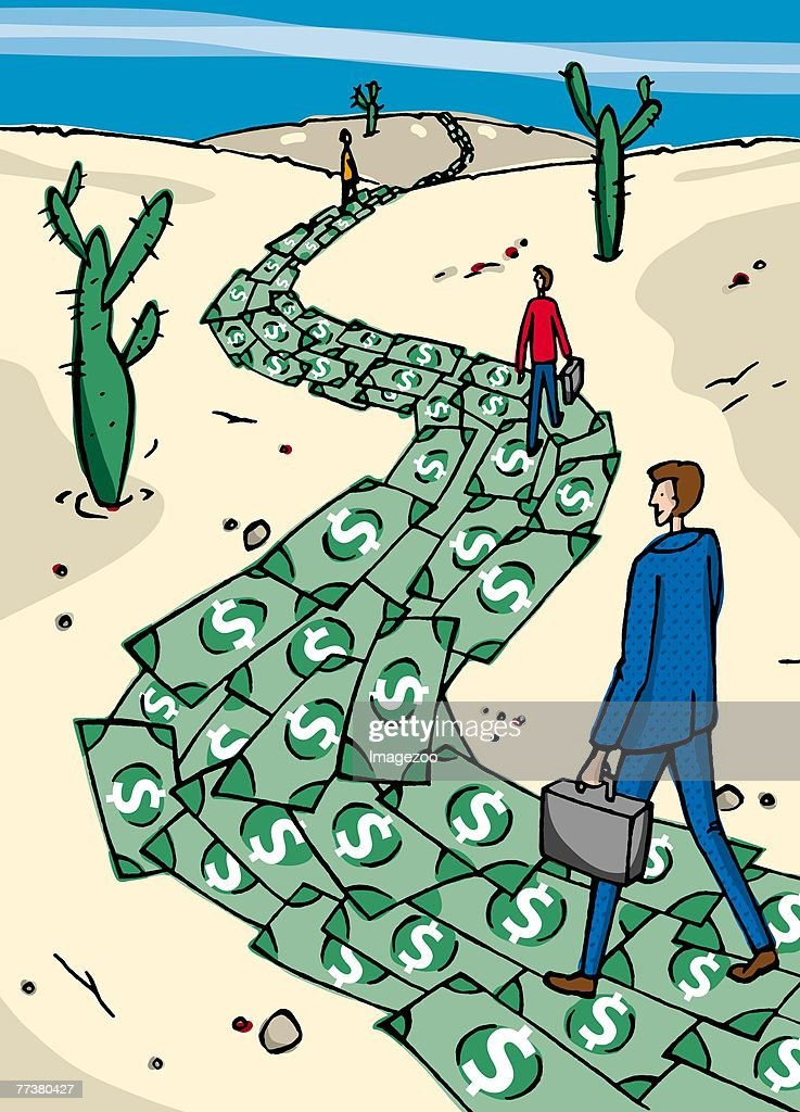 people walking on a trail made of money : Illustration