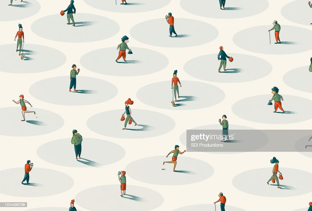 People walking to represent Social Distancing for COVID-19 : stock illustration