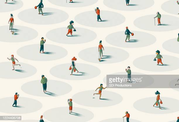 people walking to represent social distancing for covid-19 - state of emergency stock illustrations