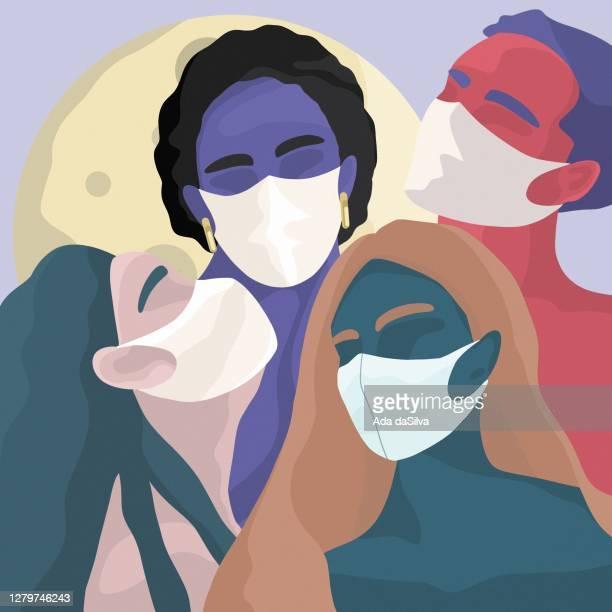 menschen, die eine chirurgische maske tragen - mundschutz stock-grafiken, -clipart, -cartoons und -symbole
