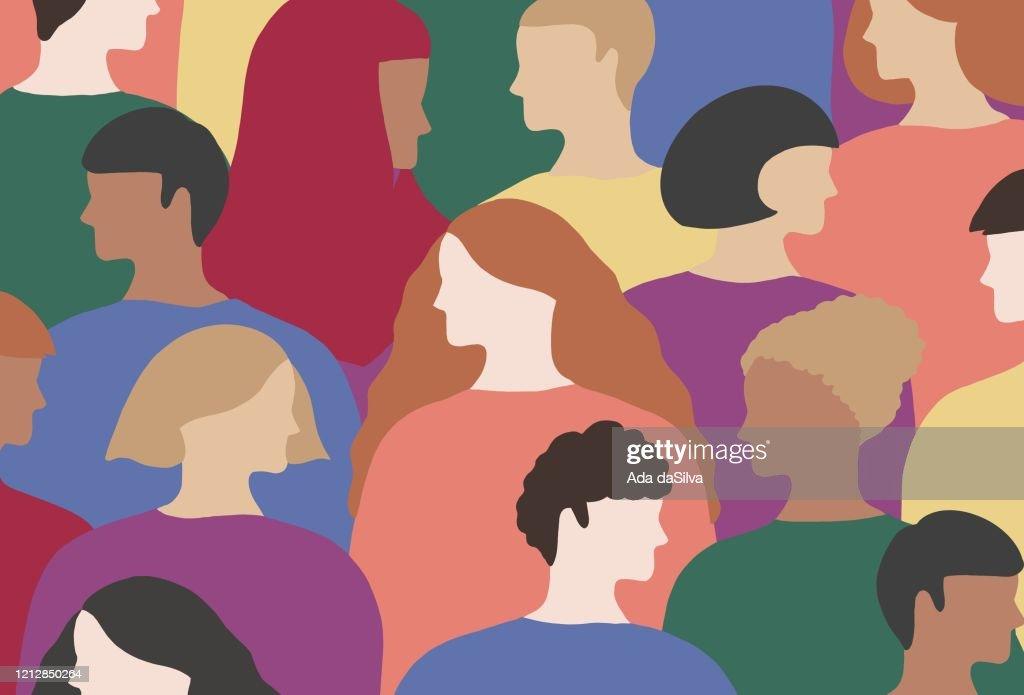 Le persone LGBTQI indossano abiti color arcobaleno : Illustrazione stock