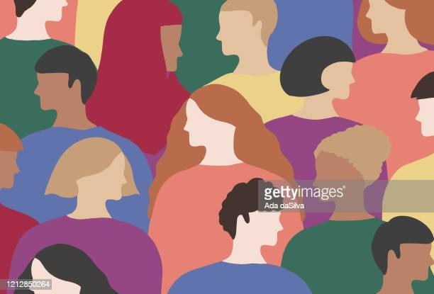 lgbtqi people wears rainbow colored clothes - diversity stock illustrations