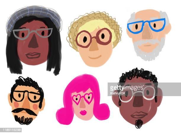 ilustrações, clipart, desenhos animados e ícones de povos com óculos - jovem adulto