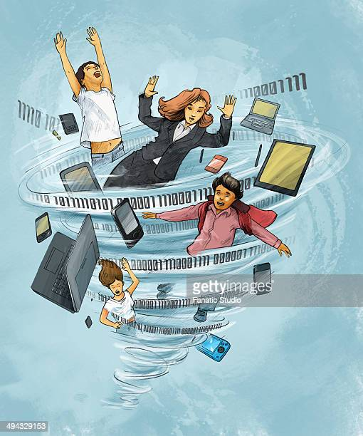 people with laptop and mobile phones trapped in twister depicting internet addiction - obsessive stock illustrations, clip art, cartoons, & icons