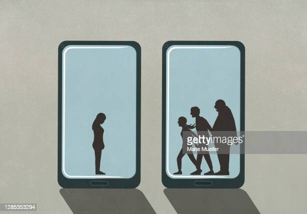 people yelling at woman on smart phone screens - full length stock illustrations
