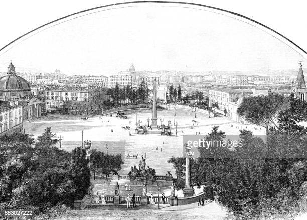 piazza del popolo in rome - architectural feature stock illustrations, clip art, cartoons, & icons