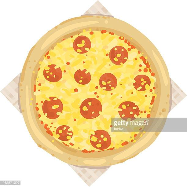 pepperoni pizza - cheddar cheese stock illustrations, clip art, cartoons, & icons