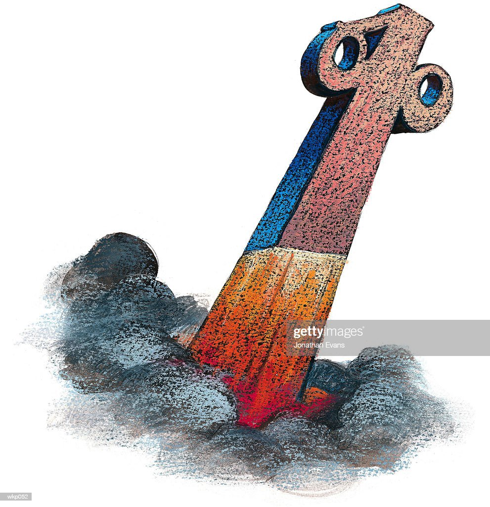 Percent Sign as Rocket : Stock Illustration