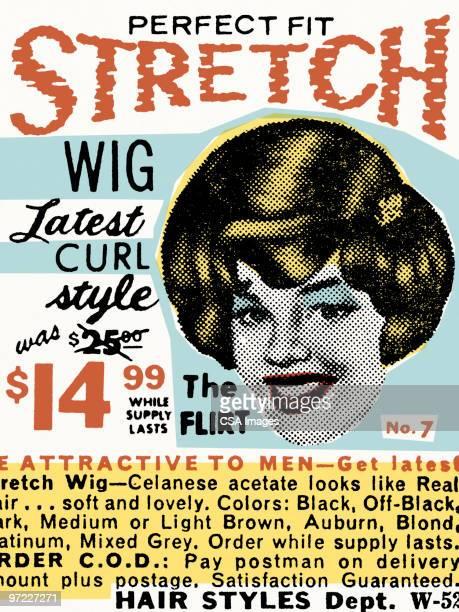 ilustrações, clipart, desenhos animados e ícones de perfect fit stretch wig - artigo de vestuário para cabeça