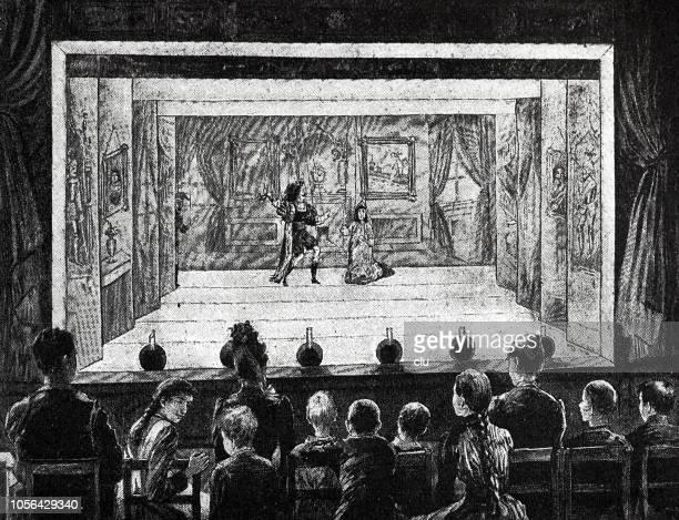 illustrations, cliparts, dessins animés et icônes de performance dans un théâtre de marionnettes - theatrical performance