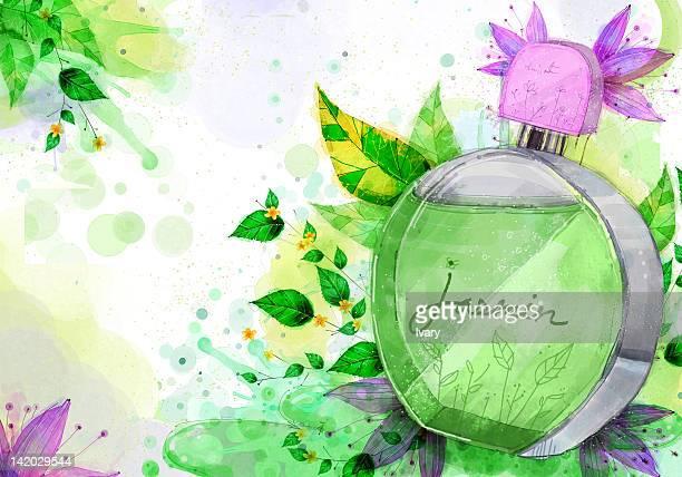 perfume bottle on flora background - ジャスミン点のイラスト素材/クリップアート素材/マンガ素材/アイコン素材