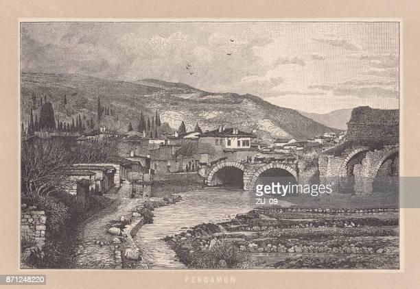 ペルガモン (ペルガモン) 以前の古代ギリシャ都市、木の彫刻、公開 1888 - アナトリア点のイラスト素材/クリップアート素材/マンガ素材/アイコン素材