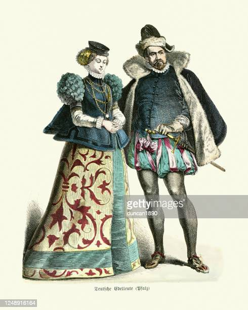 period costume of late 16th century germany, german nobles - historical clothing stock illustrations