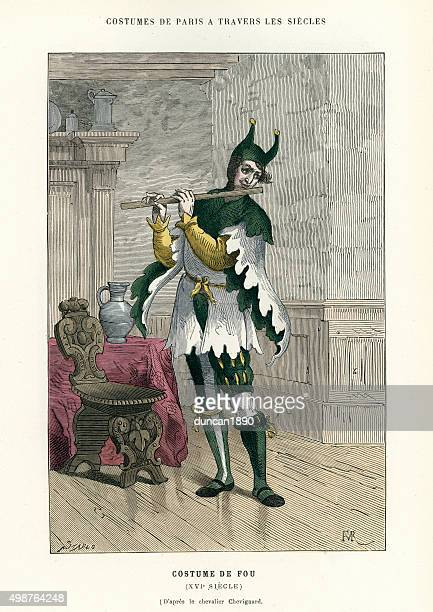 period costumes - jester or fool of the 16th century - fool stock illustrations, clip art, cartoons, & icons