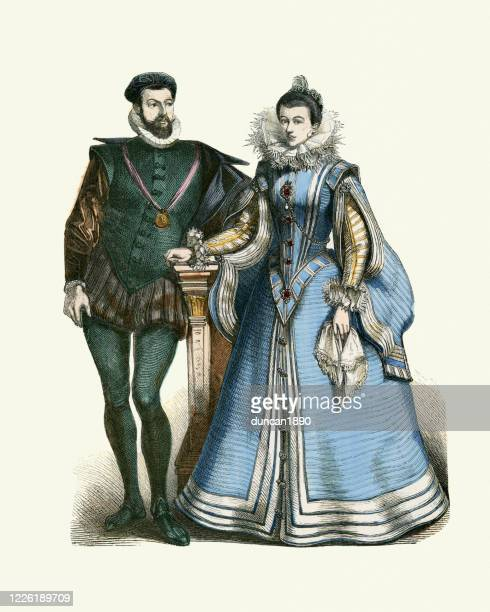 period costumes of the spanish court, 16th century fashions - neck ruff stock illustrations