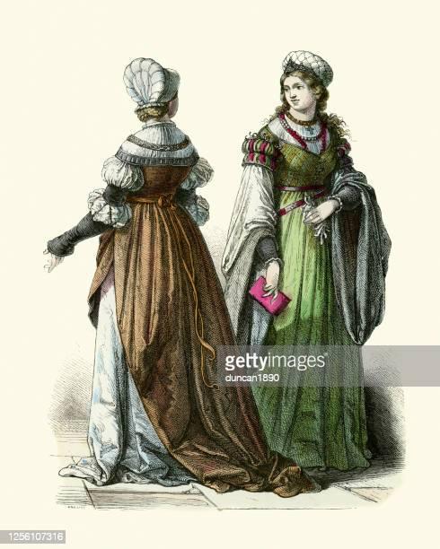時代衣装、16世紀ドイツのファッション、ドイツの女性 - 16世紀のスタイル点のイラスト素材/クリップアート素材/マンガ素材/アイコン素材
