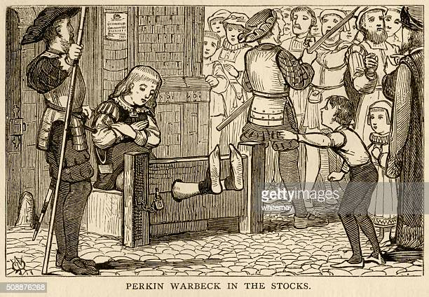perkin warbeck humiliated in the stocks - pillory stock illustrations