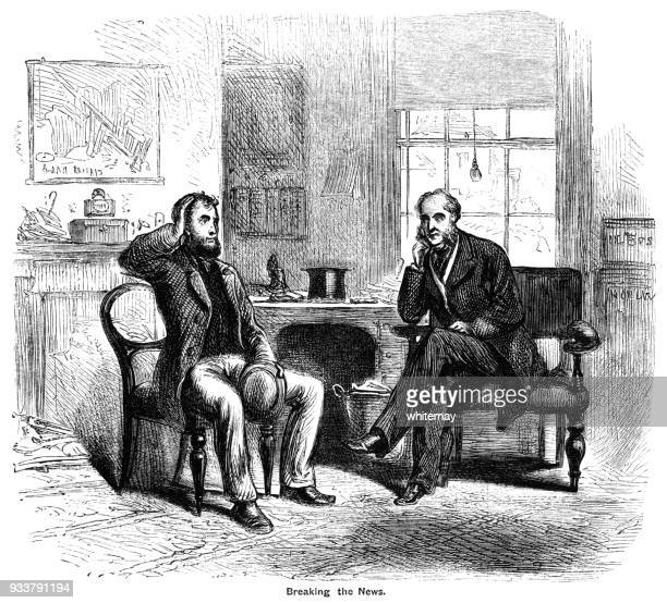 Perplexed Victorian man being given some news by a professional gentleman